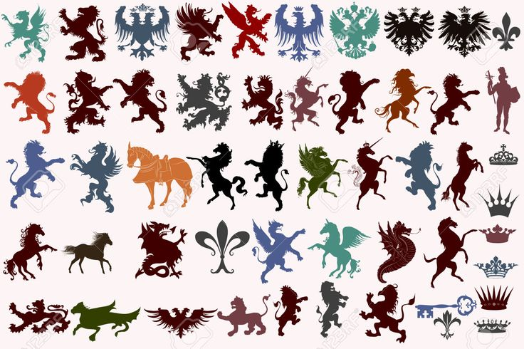 Set Di Forme Vettoriali Araldici Animali, Corone, Fleur De Lis E Mostri Clipart Royalty-free, Vettori E Illustrator Stock. Image 43190765.