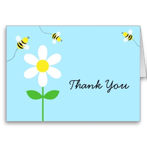 Bumble Bee Daisy Baby Shower Thank You Card