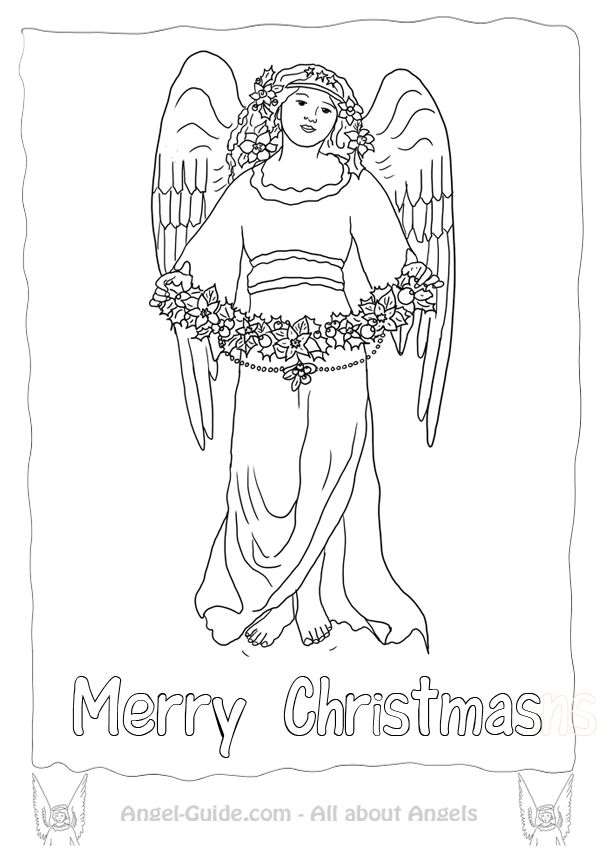 Free Angel Coloring Pages Winter Mistletoe Angel from our