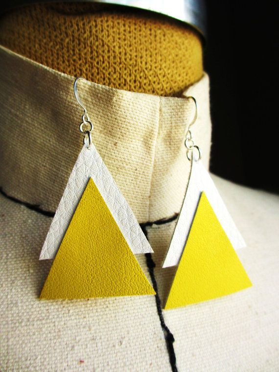 The Message- Double Leather Triangle Silver Earrings (More Colors Available). $9.00, via Etsy.