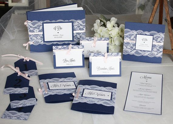 Navy & blush lace wedding invitations, guest book, escort cards, menu and table numbers from always, by amber!