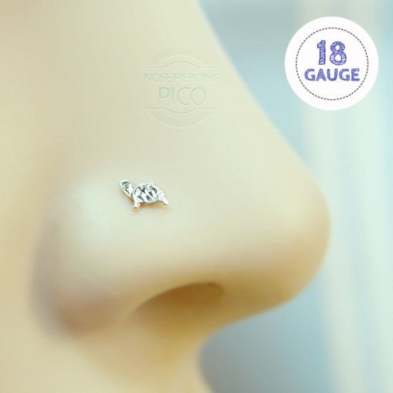 Nose Stud tiny Turtle 18 gauge sterling silver by PicoNosePiercing