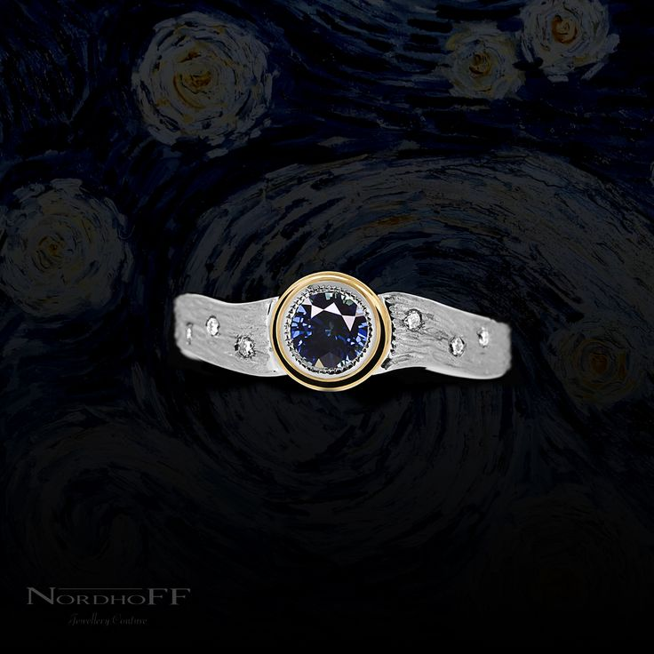 Our client excitedly challenged us with this surprise engagement ring. Inspiration was drawn from his girlfriend's favourite Van Gogh painting with the brush strokes, the deep blue colour, the bright yellow moon and the scattering of starry diamonds.