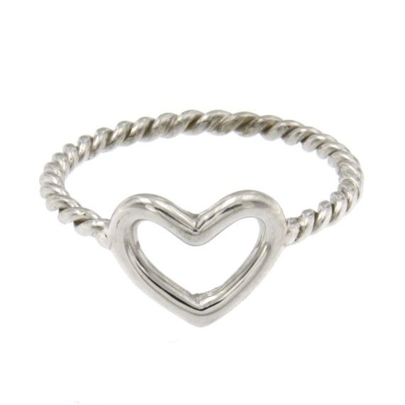 Hand made ring with heart, silver 925.000