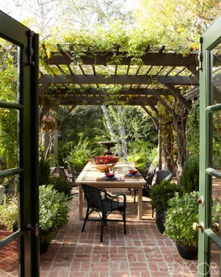 Brick paver optionsGardens Ideas, Elle Decor, Pergolas, Outdoor Living,  Terraces, Outdoor Room, Elledecor, Patios, Outdoor Spaces
