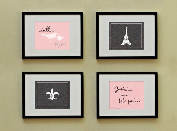 Etsy - SayItSweet - French Sayings.  Darlin' in a a baby girls room.
