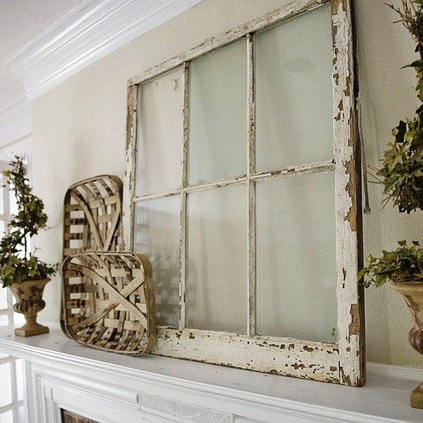 This mantle is to die for!! That distressed window and those tobacco baskets, sigh... Thanks for sharing @somewhereonmain  #decorsteals #vintageinspired