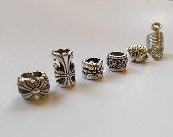 Bijoux sisterlocks, charme tibétain argent perles de cheveux, Dread manchette bobines en perles, bijoux de Dreadlocks, perles en métal, loc bijoux, accessoires de cheveux