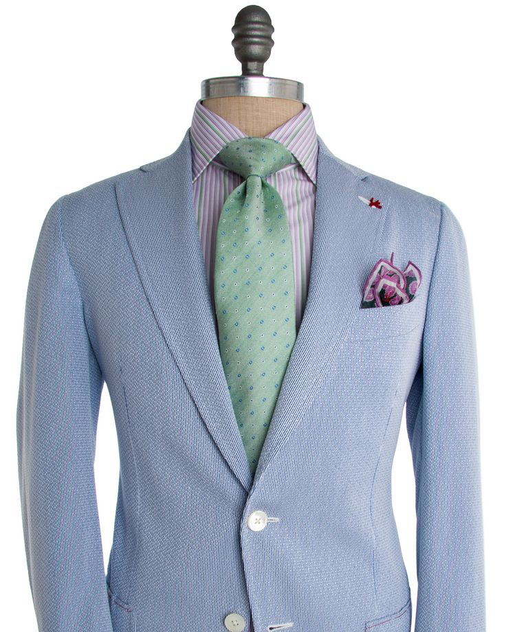 Isaia | Blue Searsucker Suit | Apparel | Men's