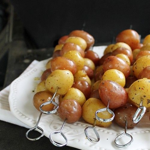 New Potato Skewers - how to BBQ baby potatoes for the perfect side for your steak!