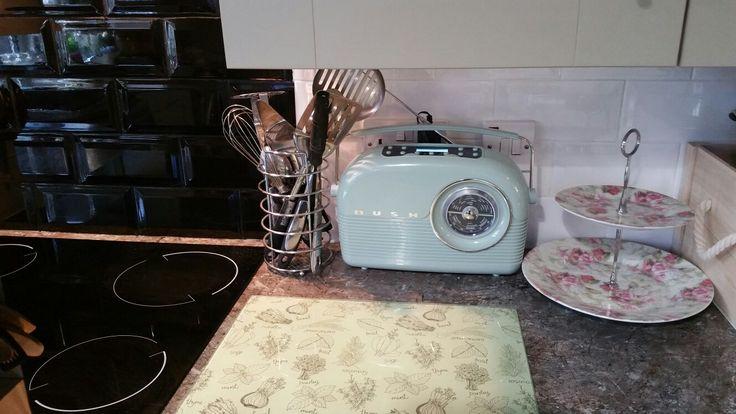 Retro radio & cake stand in our kitchen