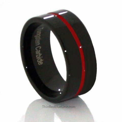 Thin Red Line Highly Polished Channel Tungsten Ring 9MM Flat Thin Profile | Thin Red Blue Line - Donations made to firefighter and police charities