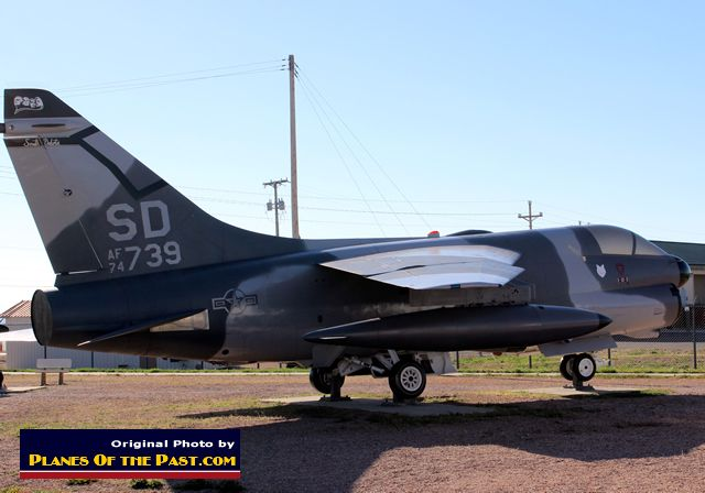U.S. Air Force A-7D Corsair, S/N 74739, near the gate of Ellsworth AFB