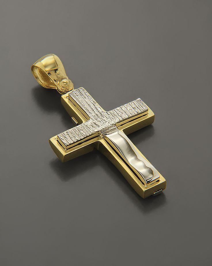 Σταυρός βάπτισης Χρυσός & Λευκόχρυσος Κ14 δύο όψεων