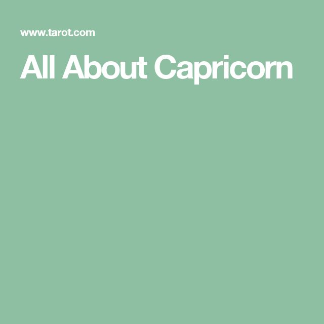 All About Capricorn