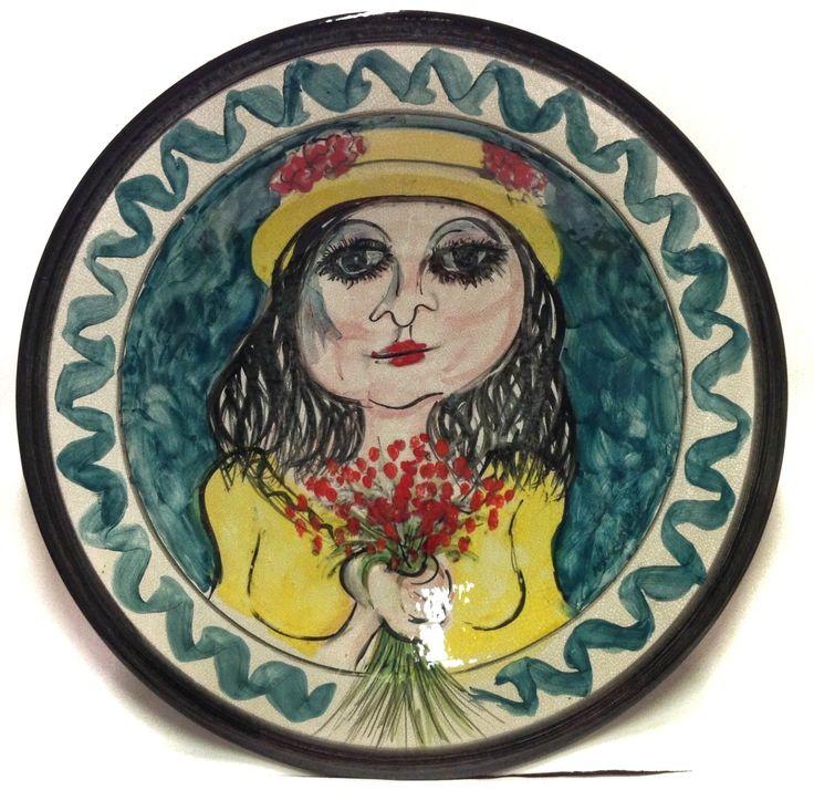 GIUSEPPE MIGNECO (1903-1997) FIORAIA DIPINTO SU PIATTO IN CERAMICA 52cm (1/100) ☲☲☲☲☲☲☲☲☲☲☲☲☲☲☲☲☲☲☲☲ FLOWER GIRL ON CERAMIC PLATE