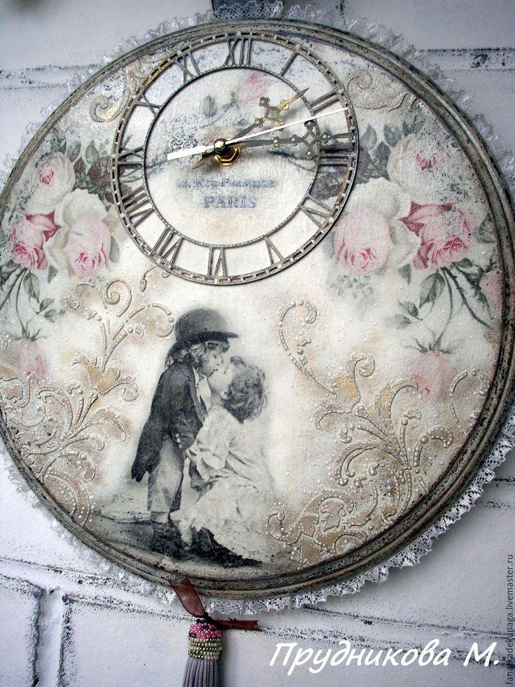"""Купить Часы """"Поцелуй нежной Розы-4"""" - комбинированный, винтаж, винтажный стиль, шебби-шик"""