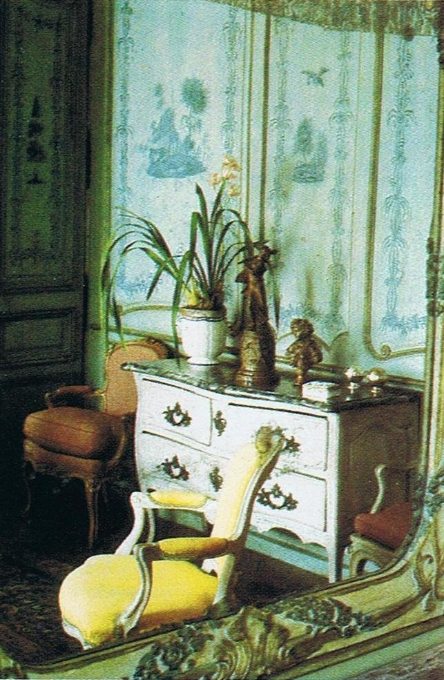 Switzerland residence. This photo is from a 25 year old magazine. The painted panels with the scenes from the fables of La Fontaine were originally painted white. House and Garden Dec. 85 Trouvais