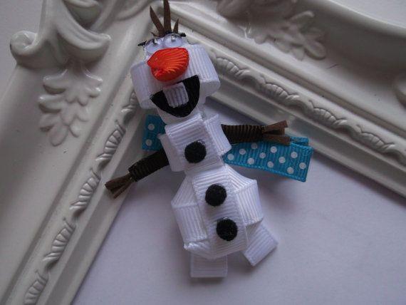 Olaf Snowman for Frozen Ribbon Sculpture Hair Clip