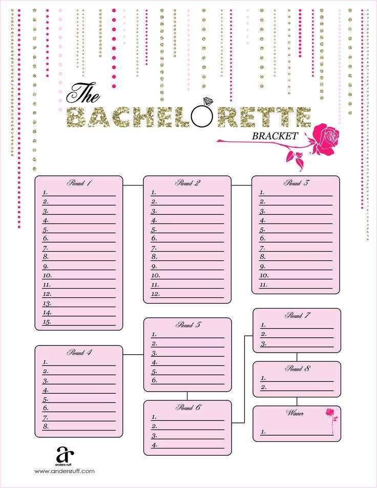 free printable bachelorette bracket