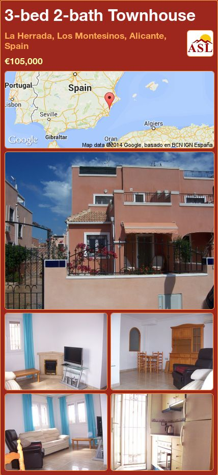 3-bed 2-bath Townhouse in La Herrada, Los Montesinos, Alicante, Spain ►€105,000 #PropertyForSaleInSpain