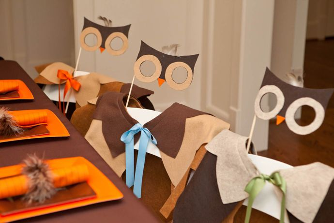 owl costumes at a woodland creature party * also triggers thoughts about how one could do a mardi gras with kids...