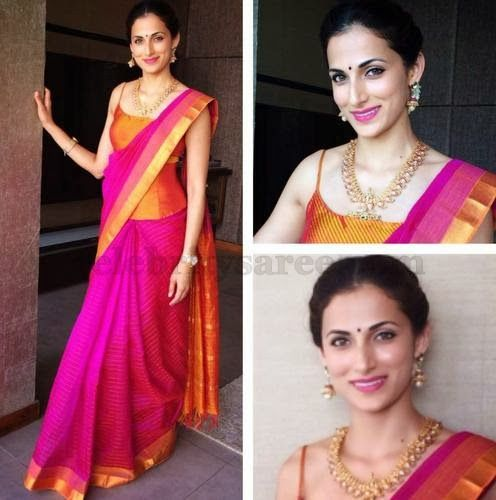 Shilpa Reddy Pink Stripes Saree | Saree Blouse Patterns