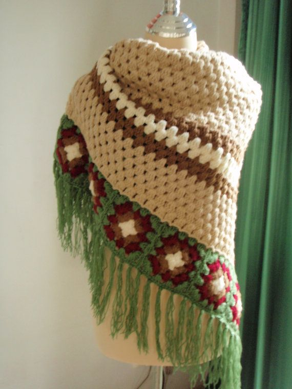 Crochet Lite : Crochet Shawl Light Brown Classic Style by Namaoy on Etsy, $65.00