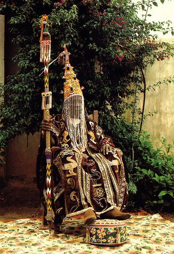 Africa | Yoruba chief (Oba), Nigeria, wearing a beaded crown | Photographer unknown.