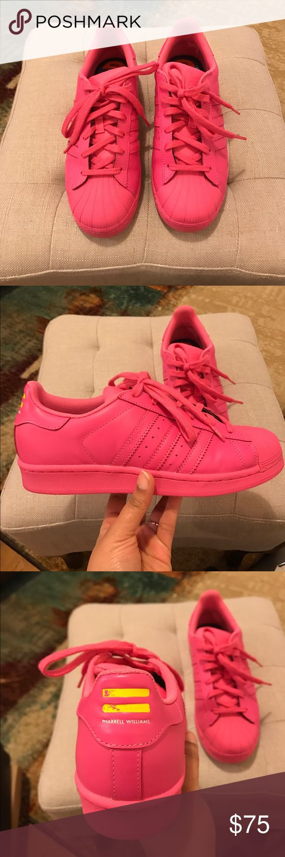 Superstar Supercolor Adidas Hot pink superstar supercolor adidas by Pharrell. Wore once in excellent condition. Runs big. I am a 7.5 in women's and this fits more like a 8. Price is firm! Adidas Shoes Sneakers