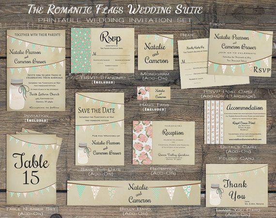 Summer Rustic Wedding Invitation Printable Mason Jar Wedding Stationery, Wedding Invites with Bunting Flag, Pastel by X3designs