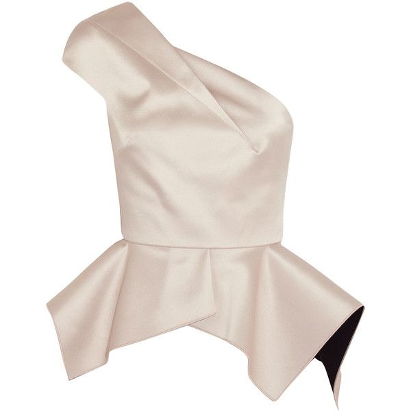 Roland Mouret Rodmell one-shoulder duchesse-satin top (1,775 BAM) ❤ liked on Polyvore featuring tops, white peplum top, peplum tops, zip peplum top, cropped tops and white crop tops