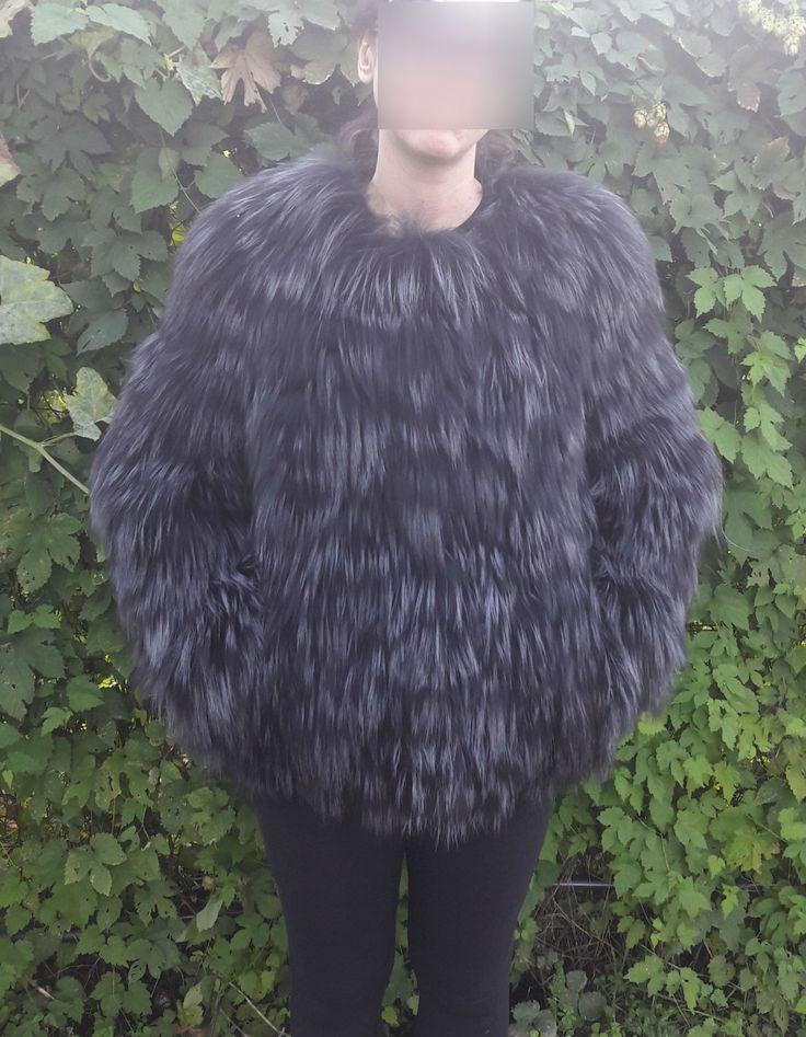 real SILVER FOX FUR Jacket - Silberfuchs Pelzjacke - Giacca di Pelliccia - лисии мех жакет by DamianKastorianFurs on Etsy