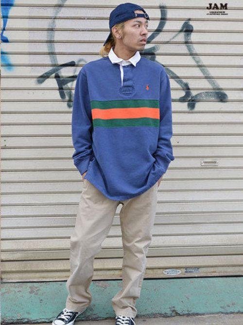 c6f249992c322 春らしいカラーが魅力のラガーシャツにチノパンを合わせたスポーツスタイル◎