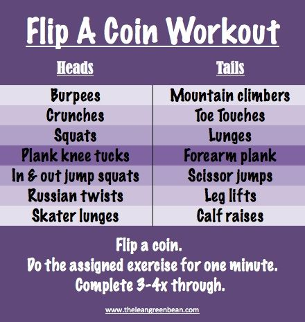Flip A Coin Workout! good idea.. now i just need to get my butt in gear!
