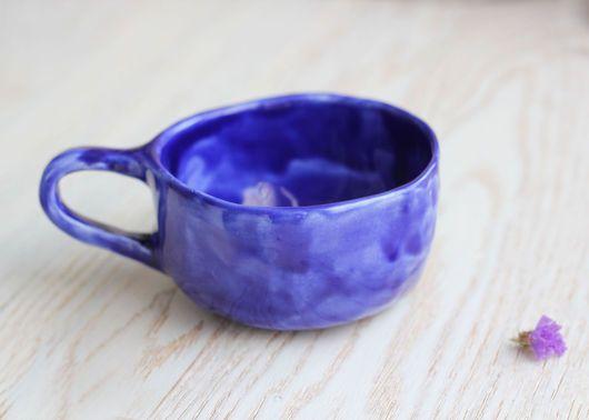 """Кружки и чашки ручной работы. Ярмарка Мастеров - ручная работа. Купить Чашка """"Глубина океана"""". Handmade. Тёмно-синий"""