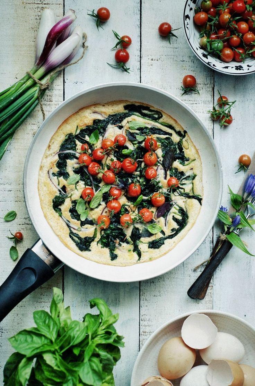 Zapiekany omlet orkiszowo jaglany ze szpinakiem