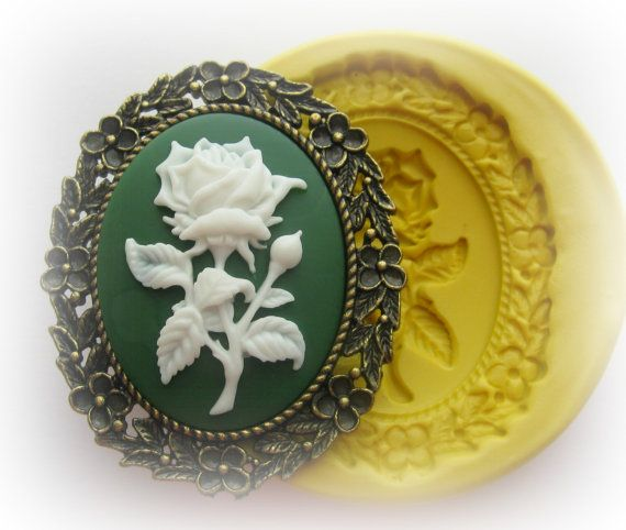 Flower Cameo Mold Silicone Cameo Frame Flexible by WhysperFairy, $9.95