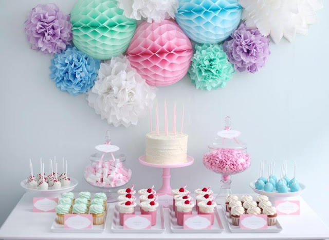 Party Inspirations: Birthday Candy Buffet. Love the honeycomb balls with the tissue poms