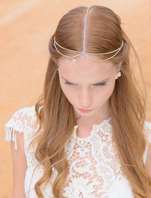 Boho Bridal Headband, Bridal Hairband, Bohemian Bridal Headpiece, Boho Head Piece, rhinestone forehead headband. Bridal headpiece, wedding