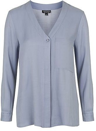 Womens light blue grey longsleeve slouchy pocket from Topshop - £35 at ClothingByColour.com