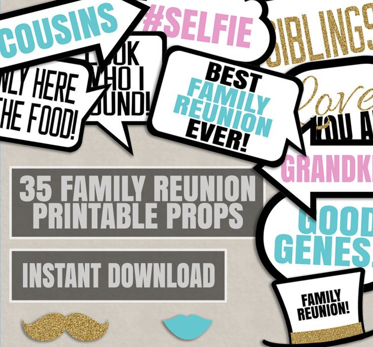 Family Party Photo Booth Props Reunion Printable