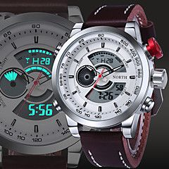 Hombre Reloj Deportivo / Reloj de Vestir / Reloj de Moda / Reloj de Pulsera CuarzoResistente al Agua / Dos Husos Horarios / Luminoso /