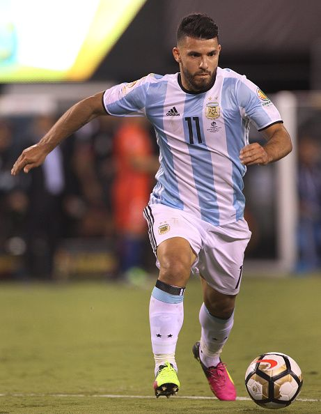 #COPA2016 #COPA100 Sergio Aguero of Argentina in action during the Argentina Vs Chile Final match of the Copa America Centenario USA 2016 Tournament at MetLife Stadium...