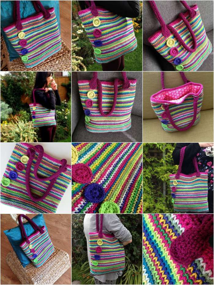 Crochet tote bag made with waistcoat stitch that looks knitted! Gorgeous rainbow colours. Free pattern and tutorials by Crafternoon Treats!