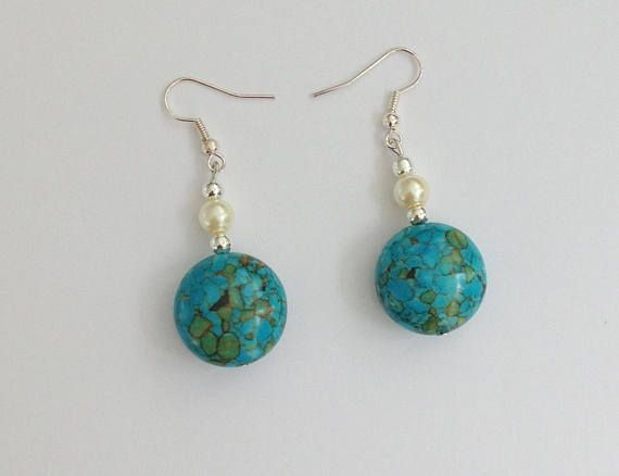 Turquoise Earrings Gemstone Earrings Birthday Gift