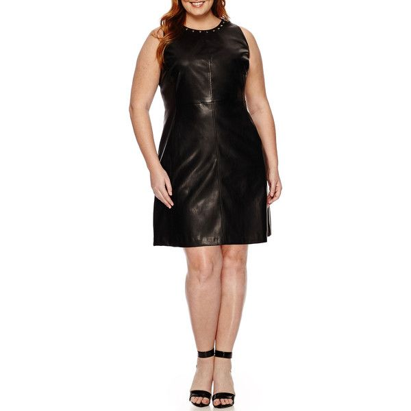 Worthington Sleeveless Pleather Shift Dress ($40) ❤ liked on Polyvore featuring plus size women's fashion, plus size clothing, plus size dresses, plus size, plus size party dresses, sleeveless shift dress, multi-color dress, plus size night out dresses and womens plus dresses