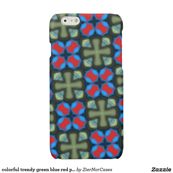 colorful trendy green blue red pattern glossy iPhone 6 case
