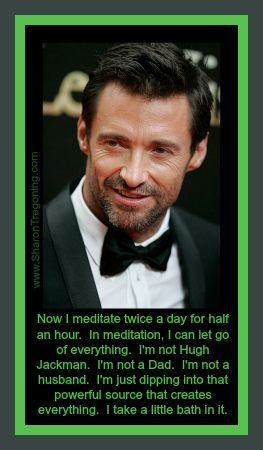 Now I meditate twice a day for half an hour.  I can let go of everything.  I'm not Hugh Jackman.  I not a Dad.  I'm not a husband.  I'm just dipping into that powerful source that creates everything.  I take a little bath in it. Hugh Jackman  www.SharonTregoning.com