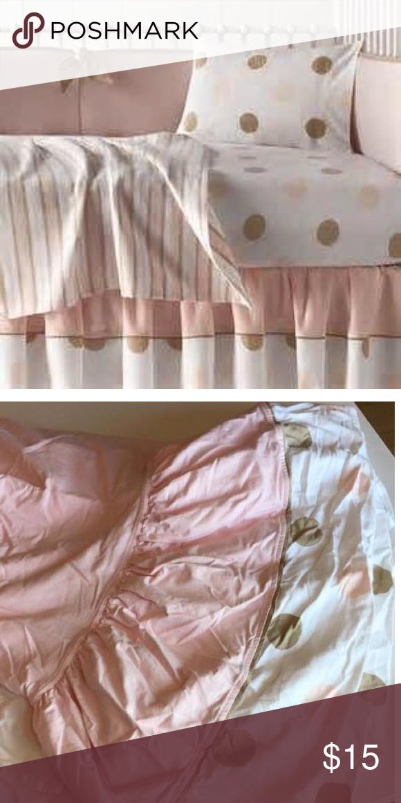 Restoration hardware crib / toddler bedding Beautiful super soft organic cotton bedding - fitted sheet and bed skirt only. Pink and tan polka dot. Fitted sheet was used but no major stains. Bed skirt was never used Accessories